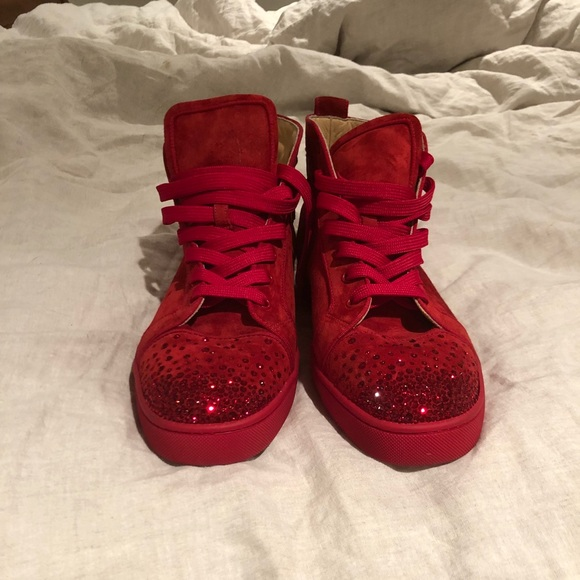 58f299f80ec4 Christian Louboutin Other - RARE Christian Louboutin Sparkle Red Sneaker 13